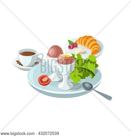 Sample Breakfast Plate With Boiled Eggs, Croissant And Coffee. Classic Hotel Breakfast Set For Menu