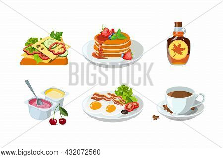Classic Hotel Breakfast Set With Pancakes And Maple Syrup, Cheese Toast, Cup Of Coffee. Menu Poster