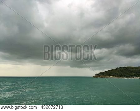 Overcast And Gray Sky In Oropesa Del Mar Next To The Mediterranean Sea, In Castellón, In Spain. Euro
