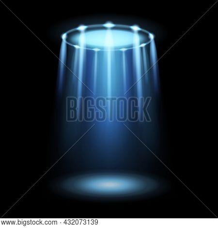 Light Ufo. Spaceship Alien Magic Bright Blue Beam. Futuristic Sci-fi Spotlight From Ufos Spacecraft