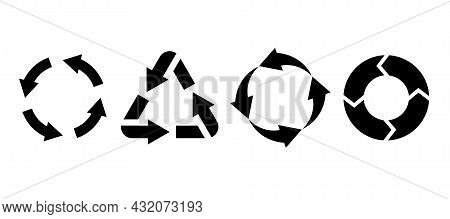 Recycling Environmental Labels. Black Silhouette. Circle And Triangle Arrows. Bio Garbage, Biodegrad