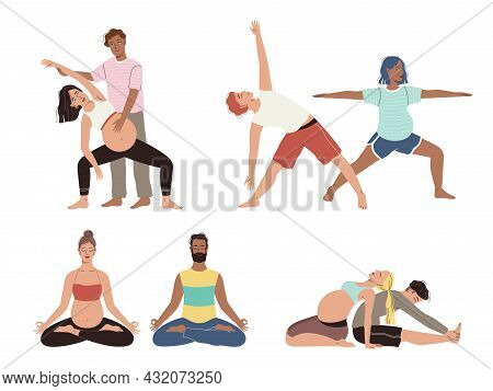 Pregnancy Yoga Couple. Happy Future Parents Different Asana Poses, Healthy Family Stretch And Medita