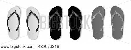 Realistic Flip Flops Mockup. Monochrome Beach Footwear, Black, White And Grey, Empty Rubber Swimming