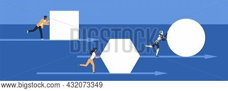 Robot Pushing. Business People Push Geometric Shapes, Race With Cyborg, Integration Innovative Techn