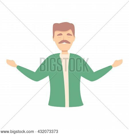 Man Concentration Icon Cartoon Vector. Stress Work. Zen Mind