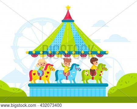 Kids On Round Carousel With Horses. Children Ride Merry-go-round In Amusement Park, Old Roundabout W