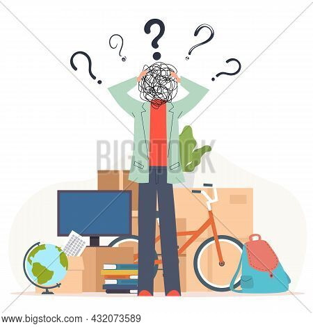 Confusion And Misunderstanding Concept. Stressed Man Worried About Moving, Boxes And Things On Backg