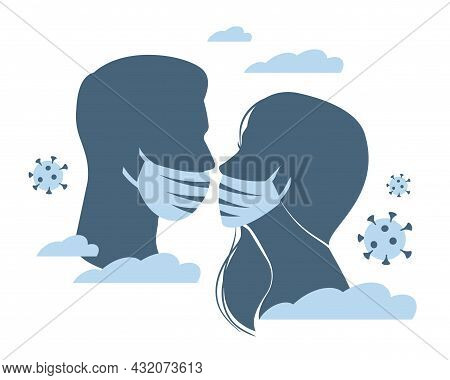 Obstacle Of Kiss. Silhouettes Of Man And Woman Kissing, Faces In Medical Masks, Virus On Background,