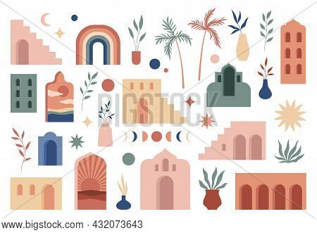 Abstract Boho Architecture. Buildings Geometry Elements, Contemporary Aesthetic Simple Style, Minima