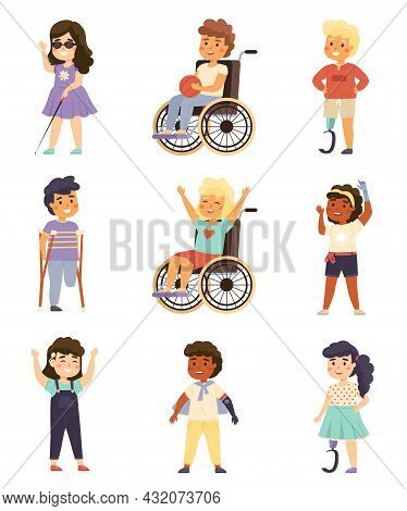 Disability Kids. Cute Handicapped Children With Crutches, Prosthetic Devices, Hearing Aid And Wheelc