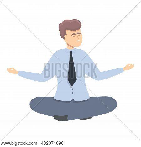 Manager Meditation Icon Cartoon Vector. Work Concentration. Zen Mind