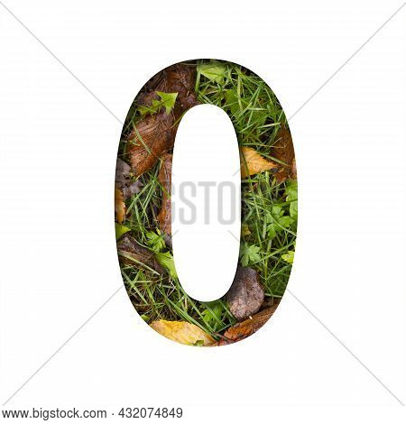 Early Autumn Font. Digit Zero, 0 Cut Out Of Paper On A Background Of Green Grass With Yellow Autumn