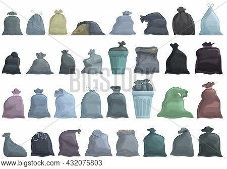 Bag For Trash Icons Set Cartoon Vector. Garbage Rubish. Dirty Food
