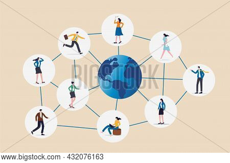 Global Network Community, Offshore Or Remote Work Around The World, Social Media Or Work Networking,