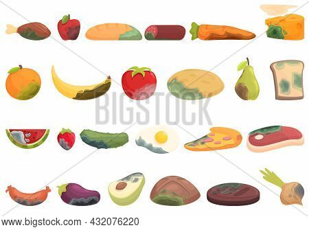 Food Contamination Icons Set Cartoon Vector. Spoiled Rotten. Touch Virus