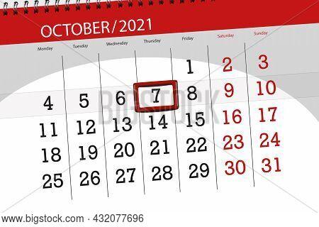 Calendar Planner For The Month October 2021, Deadline Day, 7, Thursday.