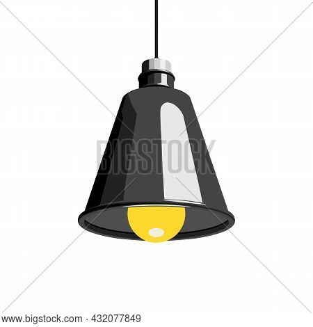 Hanging Lamp, Pendant Lamp Or Ceiling Lamp. Home, Office Or Bar Lighting Concept. Vector Illustratio