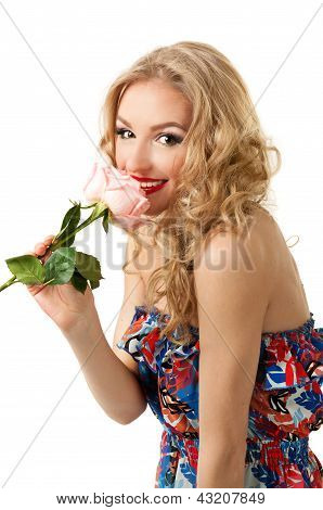 Pretty girl with rose