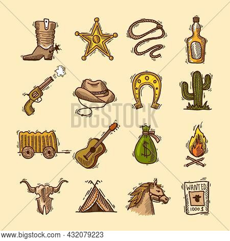 Wild West Cowboy Colored Sketch Icons Set With Boots Badge Lasso Isolated Vector Illustration