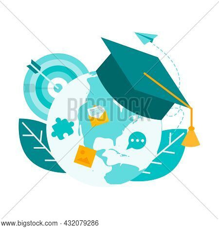 Online Training, Education, Courses, Tutoring. Globe And Professor's Hat On Top. Concept Vector Illu