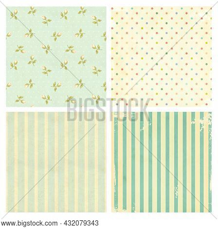 Set of retro patterns with rose flowers, polka dots and strips in shabby chic style. Collection of vintage pattern with paper texture