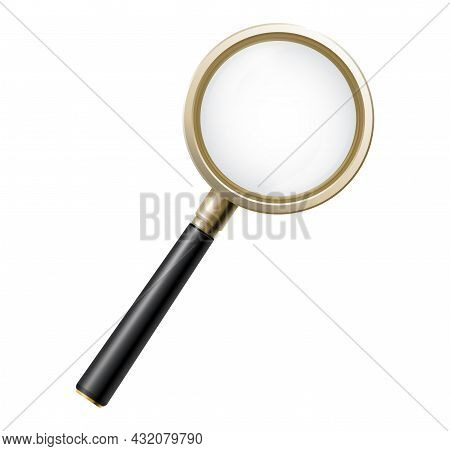 Magnifying Glass. 3d Magnifier Isolated, Business Detective Looking Element. Focus Zoomed Lens, Medi