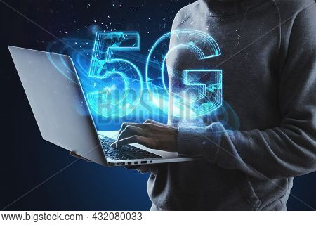 Hacker Hands Using Laptop With Creative Glowing Polygonal 5g Hologram On Blue Background. Internet S