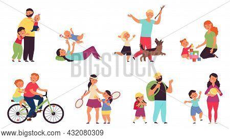 Cartoon Parents With Children. Nurturing Family, Woman Nurture Child. Young Mother Dad Playing Kids,