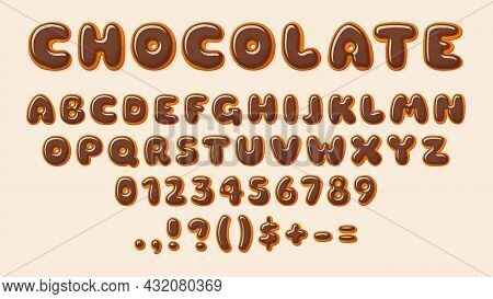 Chocolate Abc. Bakery Letters, Alphabet Letter And Number Glazed Choco. Decorative Elements For Baby