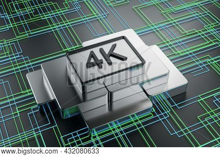 Creative 4k Chip On Tech Background. Ultra Resolution Concept. 3d Rendering