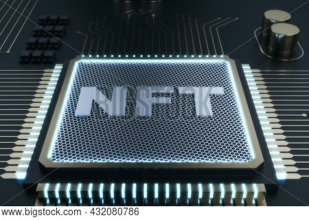 Shiny Nft Chip On Gray Background. Non-fungible Token And Hardware Concept. 3d Rendering