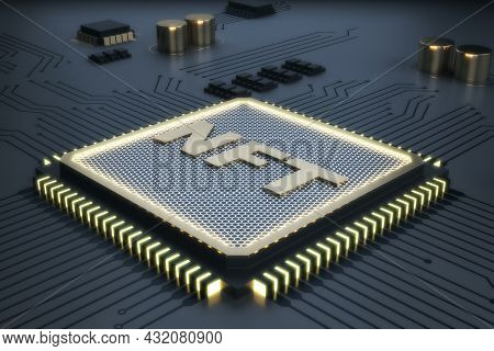 Metal Shiny Nft Chip On Gray Background. Non-fungible Token And Hardware Concept. 3d Rendering