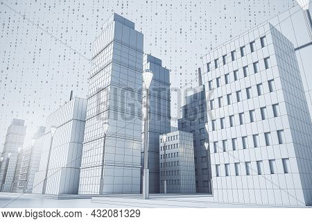 Creative Graphic Blue City Background With Binary Code. Building And Downtown Concept. 3d Rendering