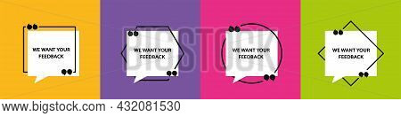 Quote In Frame With Quotation Marks On Colored Background. Bubble Quote Boxes With Brackets.
