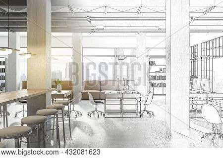 Sketch Of Creative Modern Coworking Office Interior With Bright City View And Concrete Flooring. Des