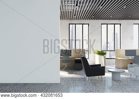 Contemporary Coworking Office Interior With Equipment, Furniture, Empty White Mockup Place On Wall,