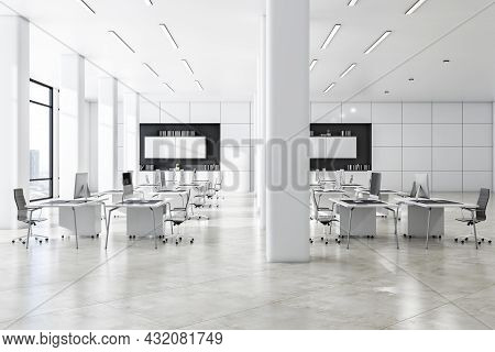 Bright White Concrete Coworking Office Interior With Daylight And City View. Business Interiors Conc