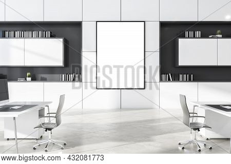Modern White Concrete Coworking Office Interior With Daylight And Empty White Mockup Poster. Busines