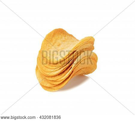 Stack Of Round Potato Chips With Paprika Isolated On White Background, Snack
