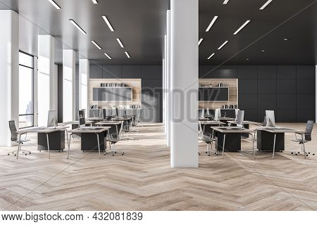 Contemorary Grey Coworking Office Interior With Wooden Flooring, Daylight And City View. Business In