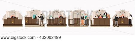 Legal Trial Scene Set, Flat Vector Illustration. Court Session In The Courtroom. Public Hearing. Law