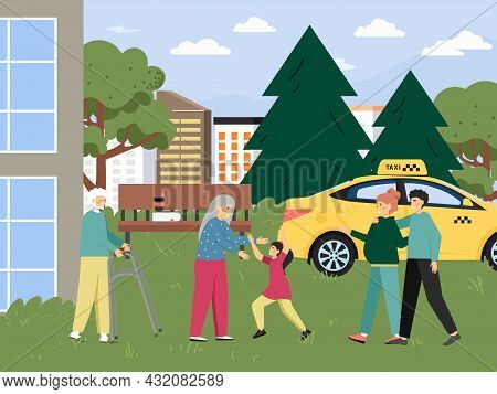 Happy Family Visiting Grandparents Living In Nursing Home, Assisted Living Community, Vector Illustr
