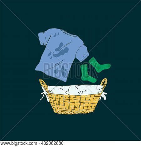 Illustration For The Laundry Service. Cartoon Household Items For Washing. A Basket With Dirty Laund