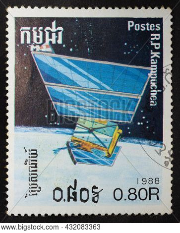 People's Republic Of Kampuchea - Cambodia - Circa 1988: Postage Stamp 'satellite In Orbit' Printed I