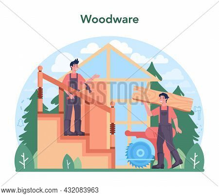 Timber Industry And Wood Production Concept. Logging