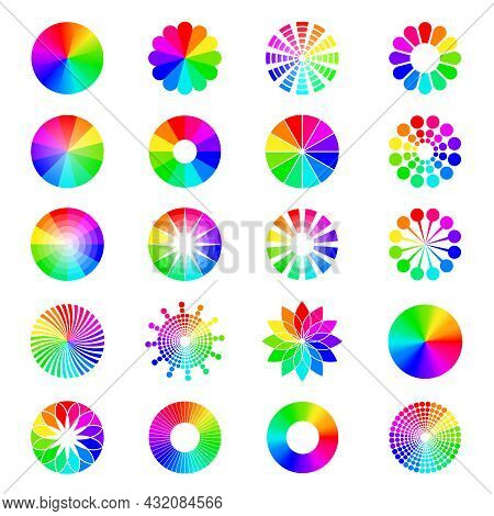 Rgb Shapes. Round Selective Wheels Colored Circles Spectrum Waves Pallets Recent Vector Illustration