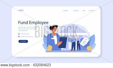 Pension Fund Employee Web Banner Or Landing Page. Specialist Helps