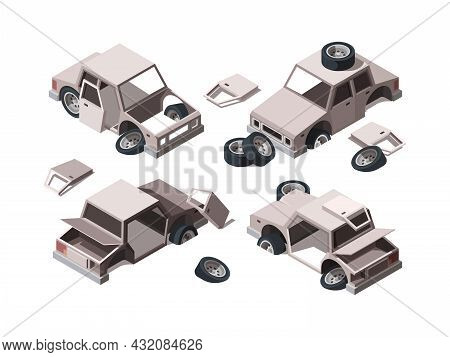 Abandoned Cars. Damaged Rusty Old Metalic Vehicles Scrap Broken Cars Garish Vector Isometric Illustr