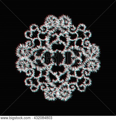 Abstract Vector Circular Ornament. Round Lace Pattern With Glitch Effect Isolated On Black Backgroun