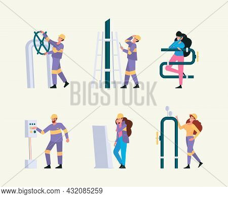 Oil Gas Industry. Engineer Workers Diversity Professional Pipe Industrial Service Characters Garish